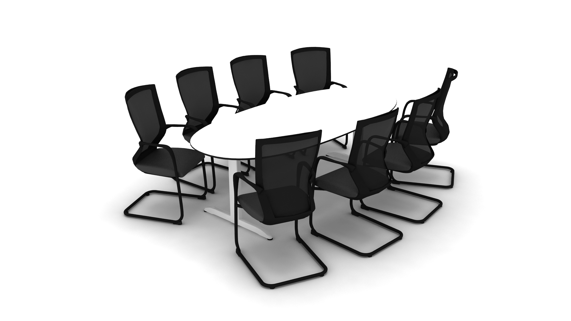 Arkus Meeting Table Techo - White oval conference table
